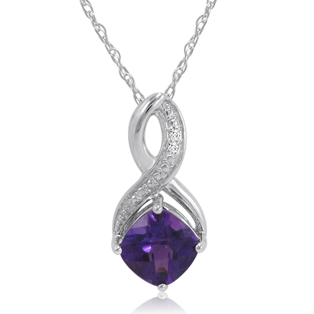 Amanda Rose Amethyst and Diamond Pendant-Necklace in Sterling Silver