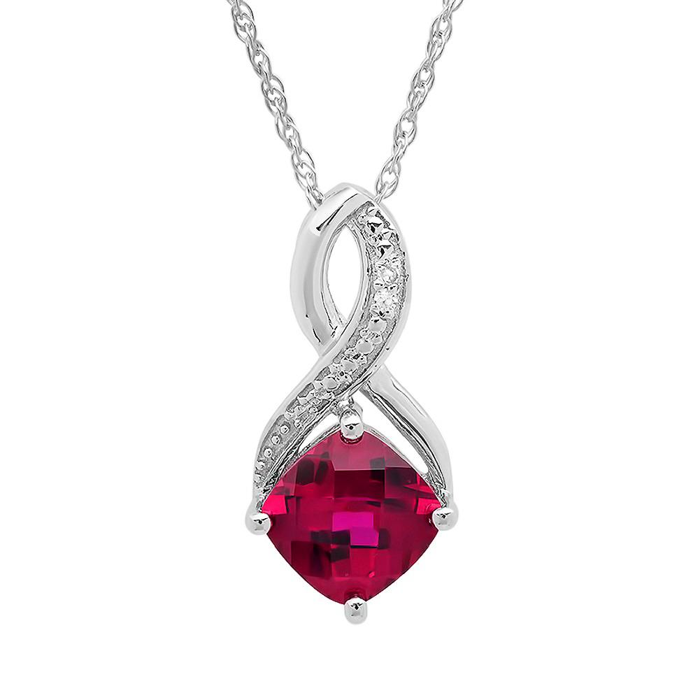 Amanda Rose Created Ruby and Diamond Pendant-Necklace in Sterling silver