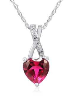Amanda Rose Heart Shape Created Ruby and Diamond Pendant -Necklace in Sterling Silver - Thumbnail 0