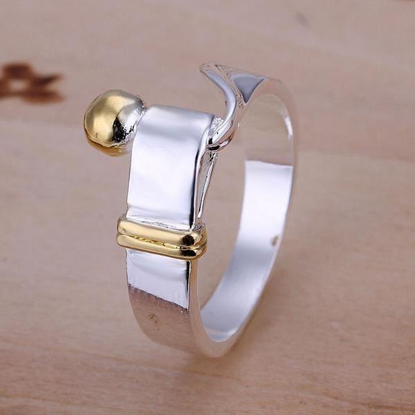 Vienna Jewelry Petite Golden Bead Matrix Sterling Silver Ring Size: 8