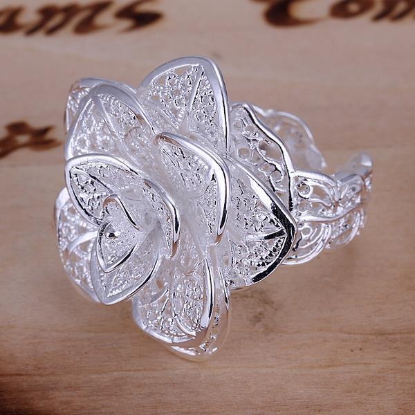 Vienna Jewelry Sterling Silver Blossoming Floral Design Ring Width:2.8CM