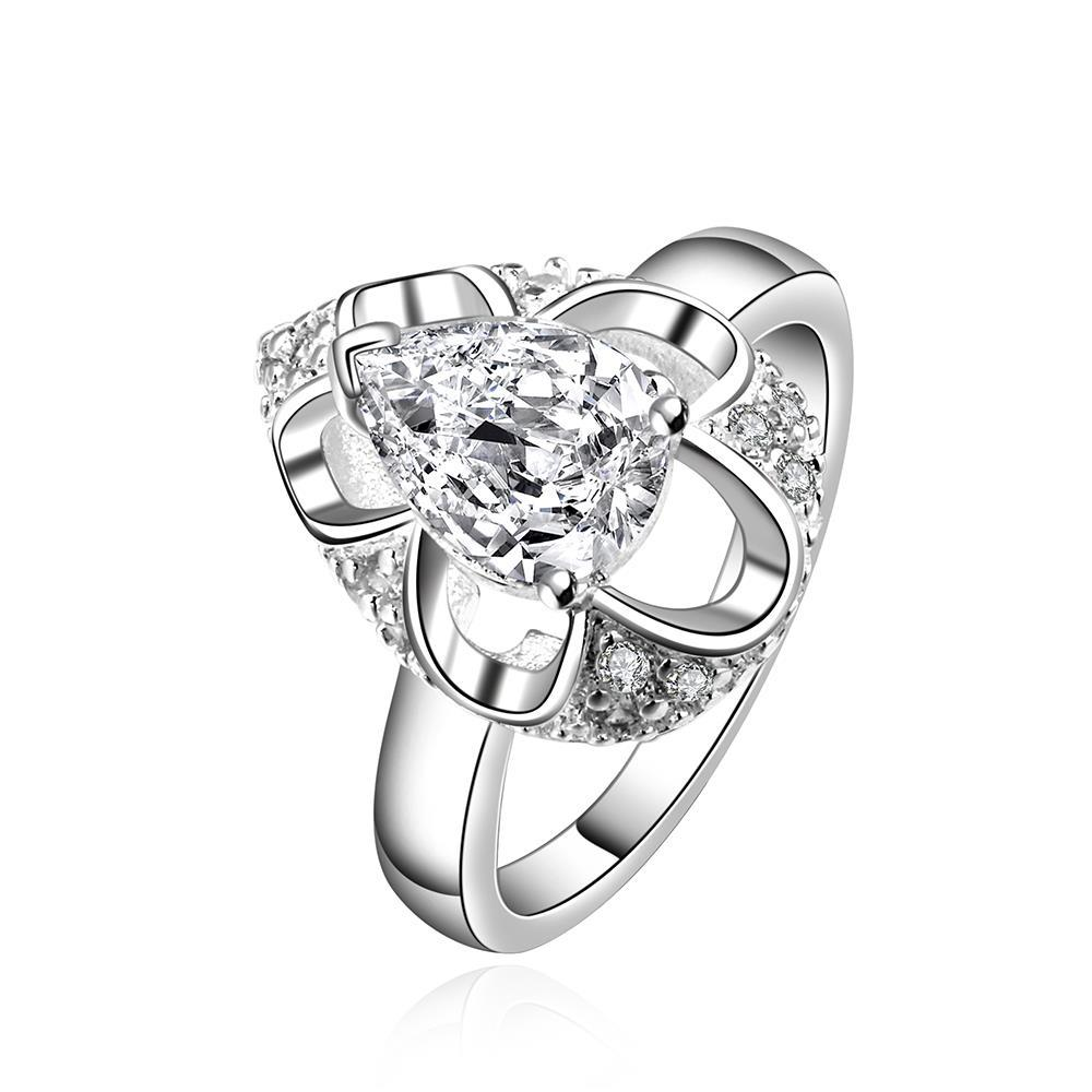 Vienna Jewelry Sterling Silver Crystal Oval Shaped Ring Size: 7