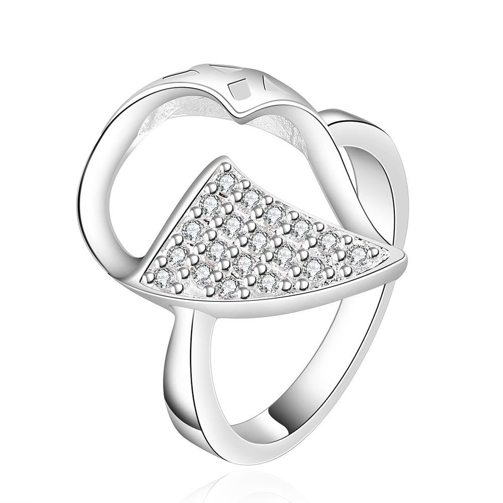 Vienna Jewelry Sterling Silver Crystal Leaf Petite Ring Size: 8