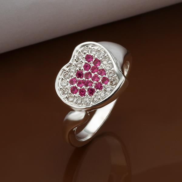 Vienna Jewelry Sterling Silver Ruby Red & Jewels Covering Heart Ring Size: 8