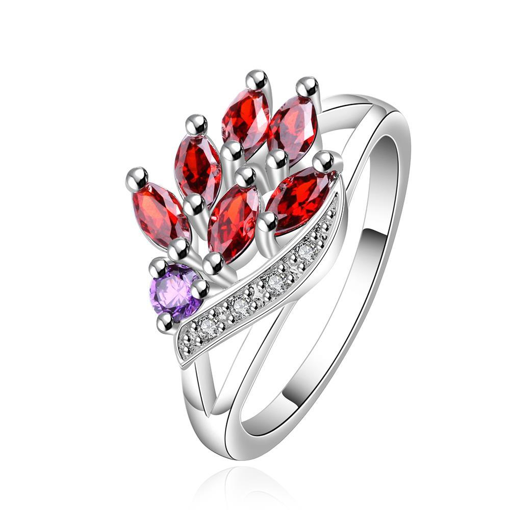 Vienna Jewelry Sterling Silver Torching Ruby Red Petite Ring Size: 8