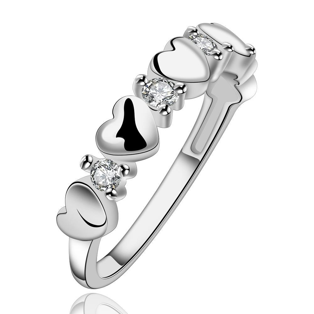 Vienna Jewelry Sterling Silver Multi Surronding Heart Shaped Ring Size: 8