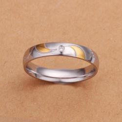 Vienna Jewelry Sterling Silver Gold Coloring Lining Ring Size: 8 - Thumbnail 0