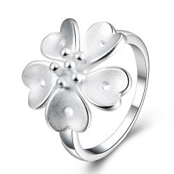 Vienna Jewelry Sterling Silver Medium Clover Cut Petite Ring Size: 8 - Thumbnail 0