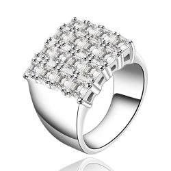Vienna Jewelry Sterling Silver Jewels Square Emblem Petite Ring Size: 8 - Thumbnail 0