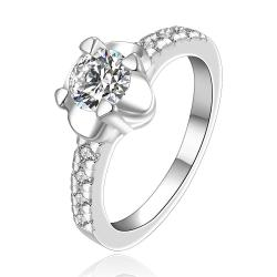 Vienna Jewelry Sterling Silver Crsytal Center with Jewels Layering Petite Ring Size: 8 - Thumbnail 0