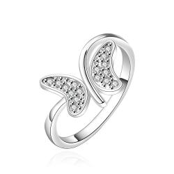 Vienna Jewelry Sterling Silver Swirl Butterfly Petite Ring Size: 7 - Thumbnail 0