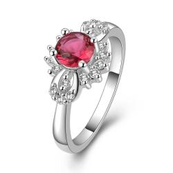 Vienna Jewelry Sterling Silver Ruby Red Orchid Petite Ring Size: 8 - Thumbnail 0