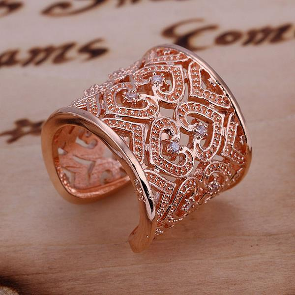 Vienna Jewelry Rose Gold Coloring Sterling Silver Open Clasp Heart Swirl Design Classic Resizable Ring