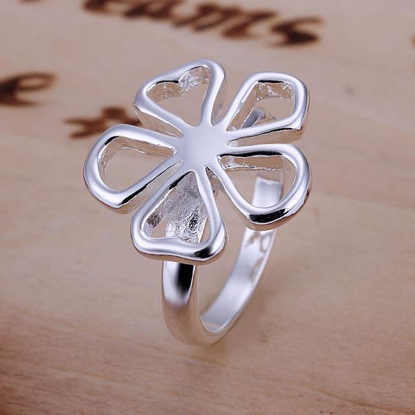 Vienna Jewelry Silve Tone Hollow Clover Petite Ring Size: 8