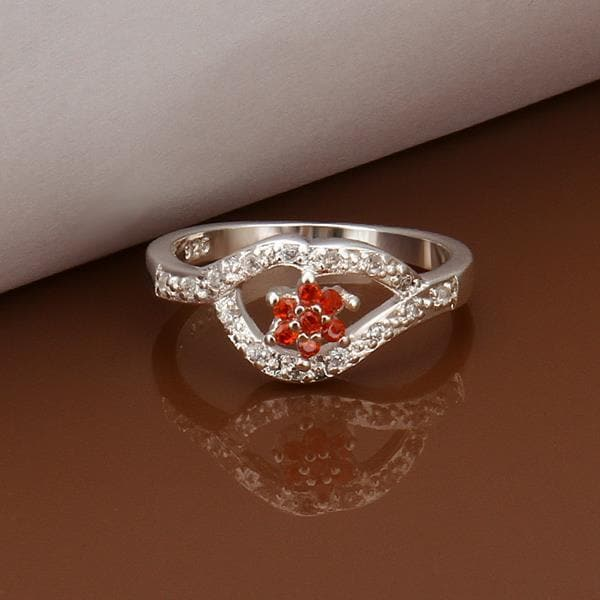 Vienna Jewelry Sterling Silver Ruby Clover Shaped Petite Ring Size: 8