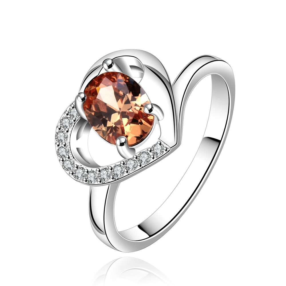 Vienna Jewelry Sterling Silver Orange Citrine Hollow Heart Petite Ring Size: 8