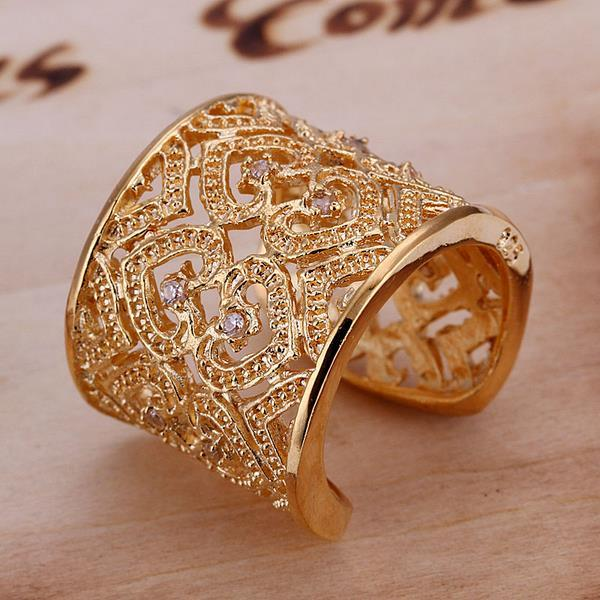 Vienna Jewelry Gold Coloring Sterling Silver Open Clasp Heart Swirl Design Classic Resizable Ring