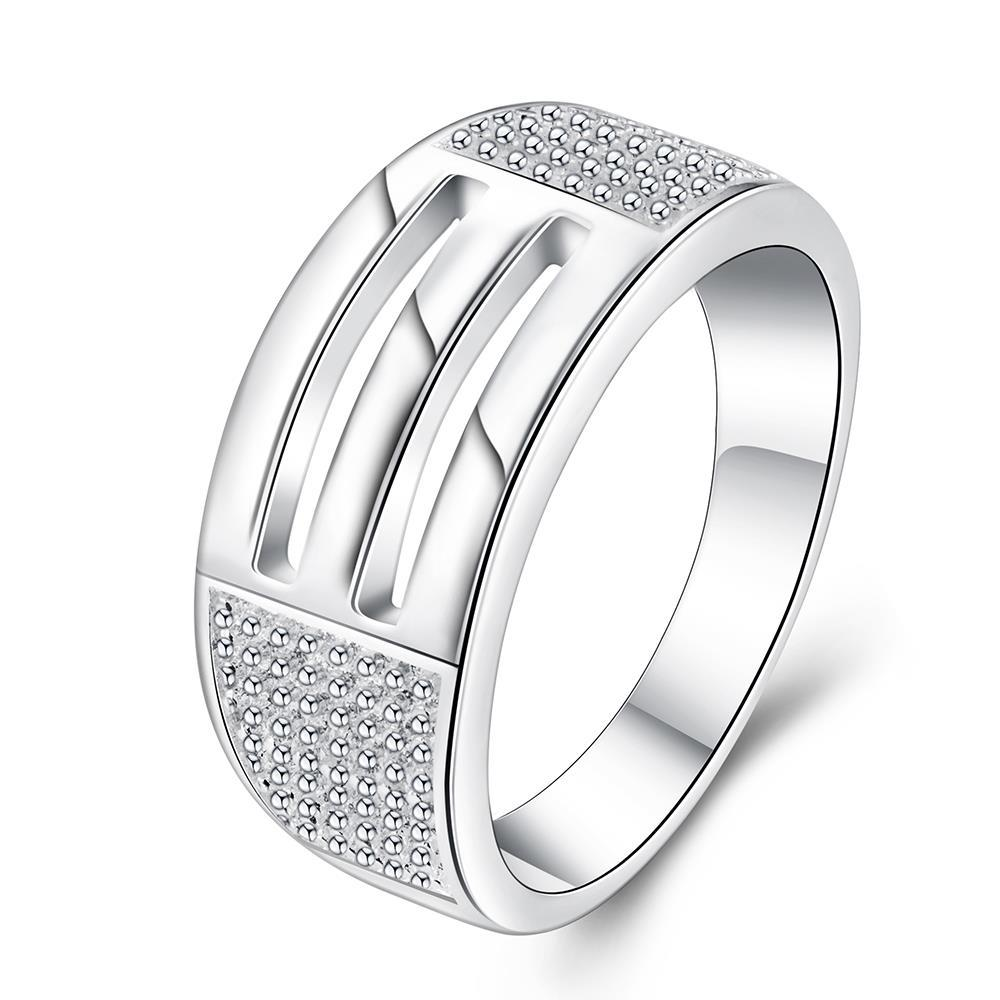 Vienna Jewelry Sterling Silver Duo-Laser Cut Lined Band Size: 8