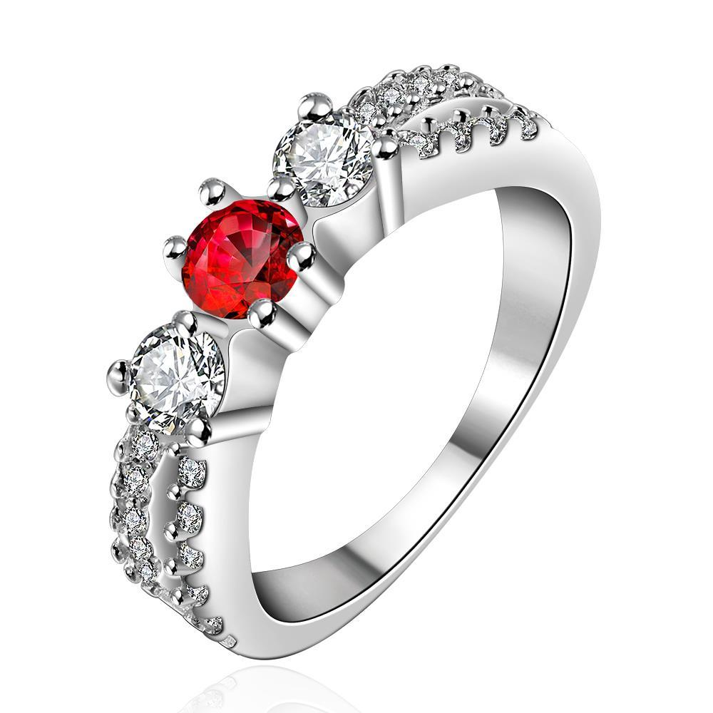 Vienna Jewelry Sterling Silver Ruby Red Petite Ring Size: 8