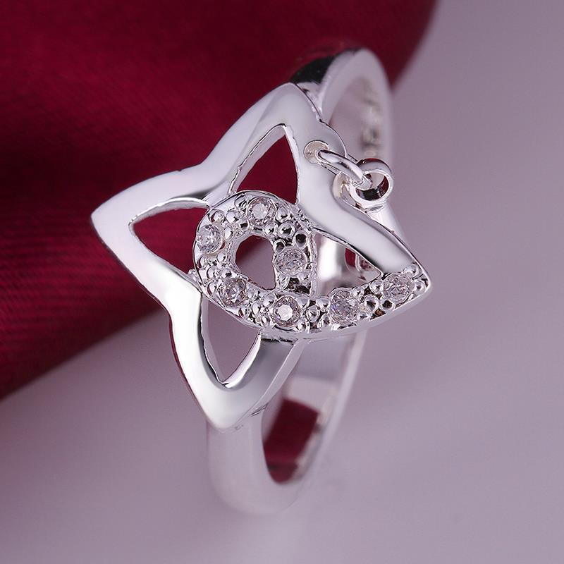 Vienna Jewelry Sterling Silver Hollow Clover Shaped Petite Ring Size: 8 - Thumbnail 0