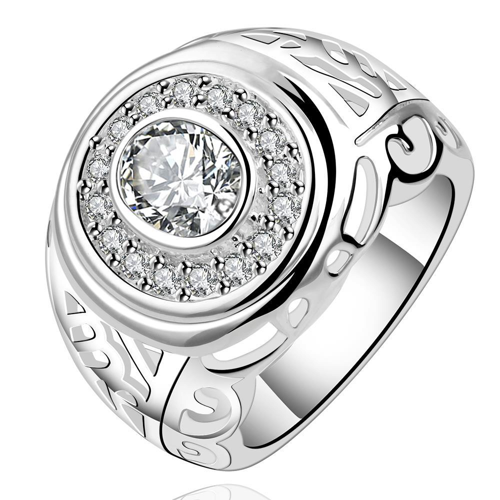 Vienna Jewelry Sterling Silver Circular Crystal Jewels Modern Ring Size: 7