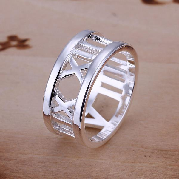 Vienna Jewelry Sterling Silver Roman Numeral Ingrain Ring Size: 8