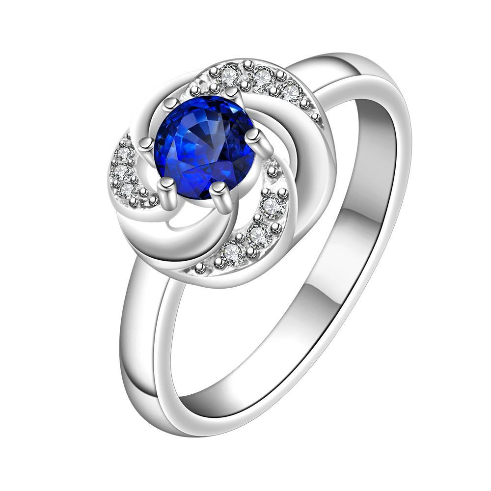 Vienna Jewelry Mock Sapphire Swirl Design Petite Ring Size: 8