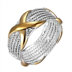 Vienna Jewelry Sterling Silver Mesh Ring Golden Cross Ring Size: 9 - Thumbnail 0
