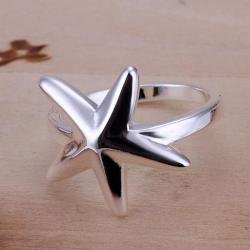 Vienna Jewelry Petite Sterling Silver Ring with Starfish Emblem Over Size: 8 - Thumbnail 0