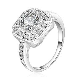 Vienna Jewelry Sterling Silver Crystal Filled Square Shaped Ring Size: 8 - Thumbnail 0