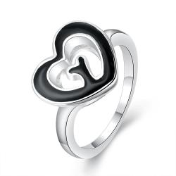 Vienna Jewelry Sterling Silver Petite Ring with Onyx Heart Shaped Ring Size: 8 - Thumbnail 0