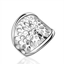 Vienna Jewelry Sterling Silver Laser Cut Modern Open Ring Size: 7 - Thumbnail 0