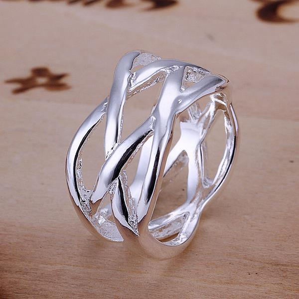 Vienna Jewelry Sterling Silver Intercrossed Petite Ring Size: 6