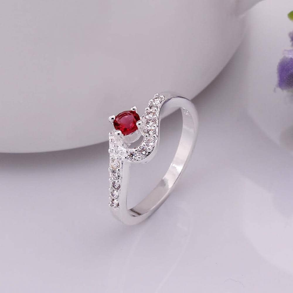 Vienna Jewelry Sterling Silver Swirl Ruby Red Curved Ring Size: 8