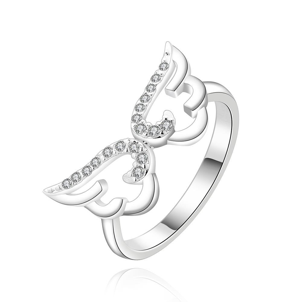 Vienna Jewelry Sterling Silver Duo-Hollow Butterfly Petite Ring Size: 8