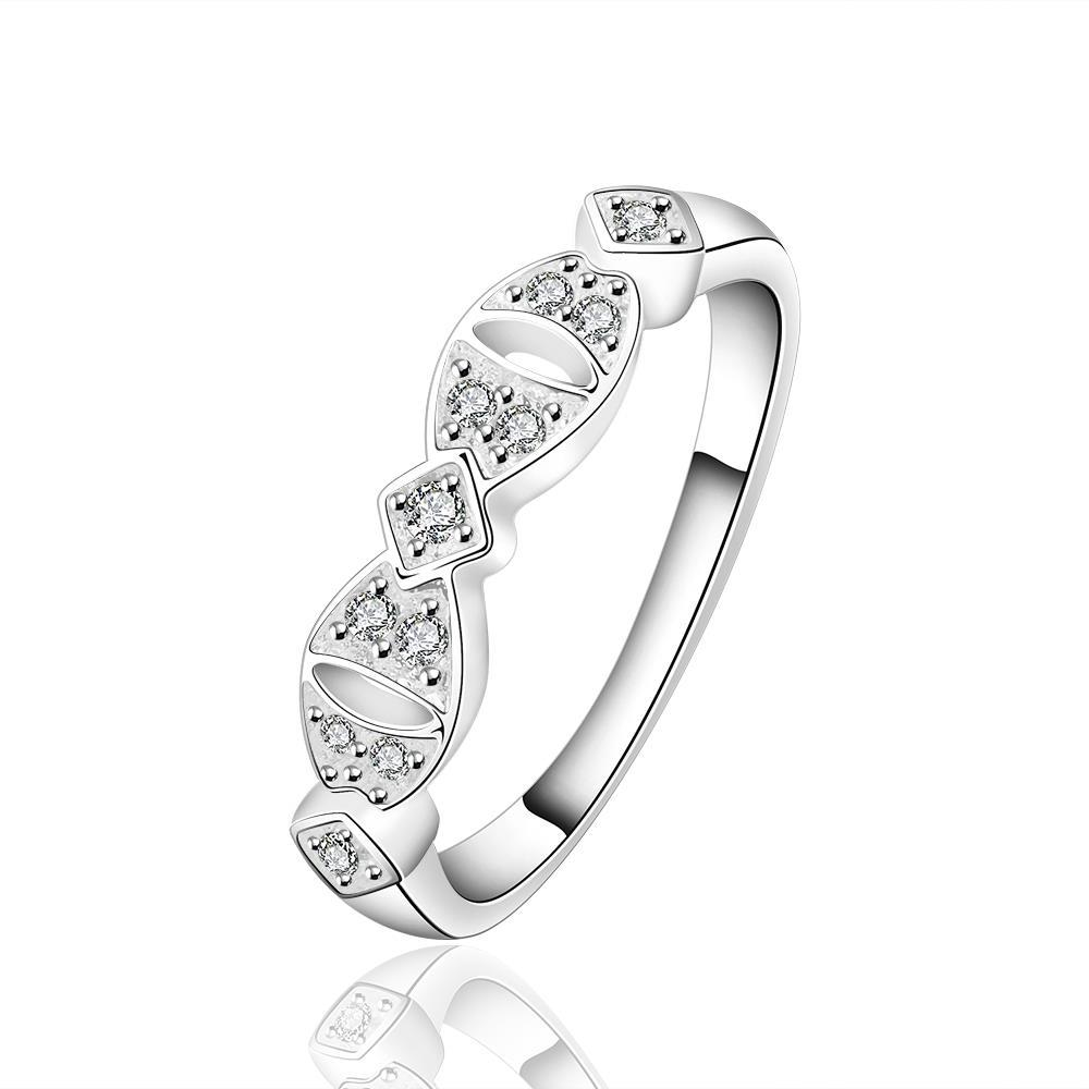 Vienna Jewelry Sterling Silver Crystal Jewels Inlay Interlocking Ring Size: 7