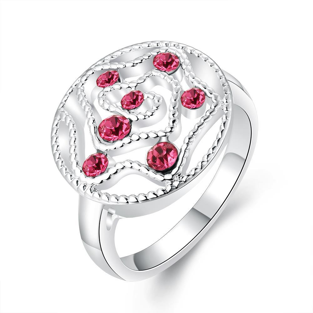 Vienna Jewelry Sterling Silver Laser Cut Ruby Red Gem Inserts Petite Ring Size: 8