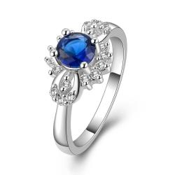 Vienna Jewelry Sterling Silver Mock Sapphire Orchid Petite Ring Size: 8 - Thumbnail 0