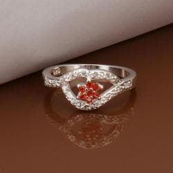 Vienna Jewelry Sterling Silver Ruby Clover Shaped Petite Ring Size: 8 - Thumbnail 0