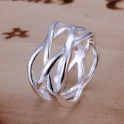 Vienna Jewelry Sterling Silver Intercrossed Petite Ring Size: 6 - Thumbnail 0