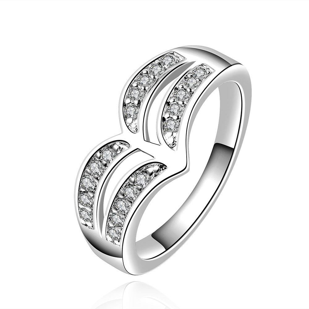 Vienna Jewelry Sterling Silver Duo-Curved Crystal Covering Ring Size: 8