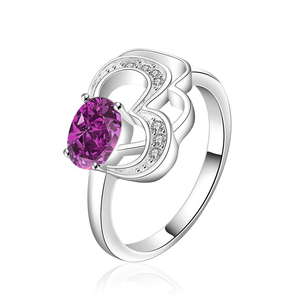 Vienna Jewelry Sterling Silver Purple Citrine Swirl Emblem Petite Ring Size: 8