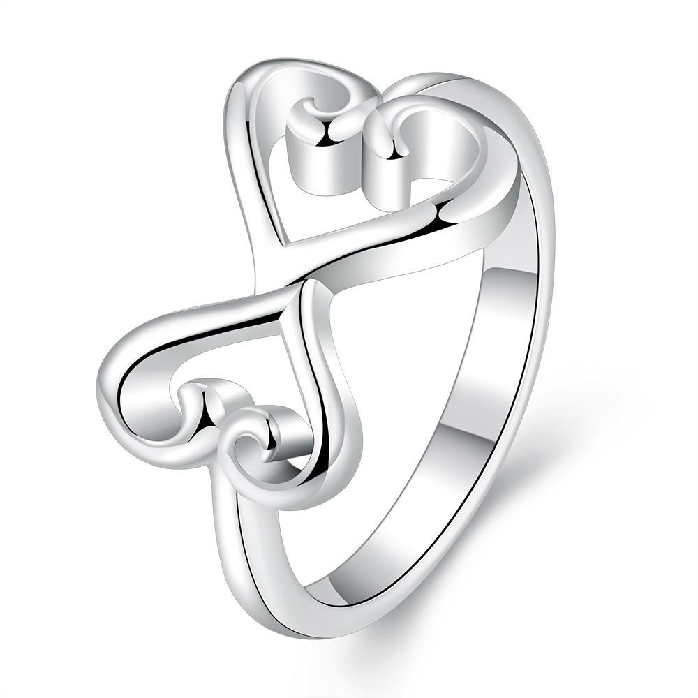 Vienna Jewelry Sterling Silver Connecting Duo-Heart Petite Ring Size: 7