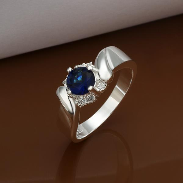 Vienna Jewelry Sterling Silver Abstract Mock Sapphire Cut Ring Size: 8