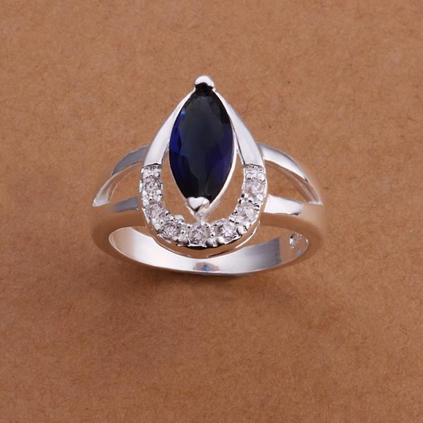Vienna Jewelry Sterling Silver Curved Mock Sapphire Crystal Lining Ring Size: 8