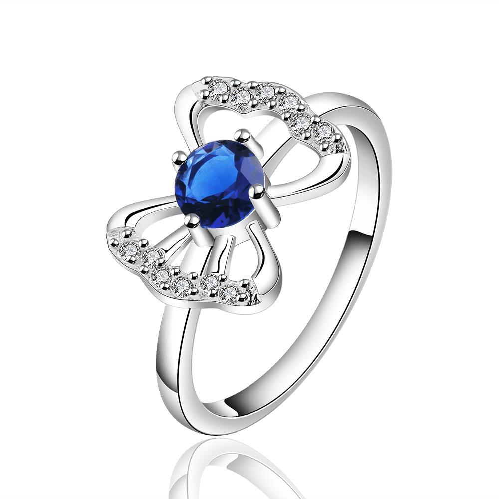 Vienna Jewelry Sterling Silver Petite Sapphire Gem Hollow Butterfly Ring Size: 7
