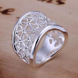 Vienna Jewelry Sterling Silver Laser Cut Swirl Design Ring Size: 8 - Thumbnail 0