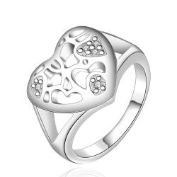Vienna Jewelry Sterling Silver Laser Cut Heart Shaped Ring Size: 7 - Thumbnail 0