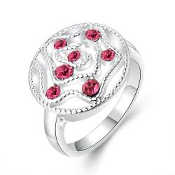 Vienna Jewelry Sterling Silver Laser Cut Ruby Red Gem Inserts Petite Ring Size: 8 - Thumbnail 0
