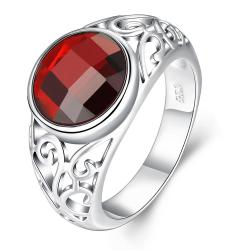 Vienna Jewelry Sterling Silver Shining Ruby Red Gem Ring Size: 8 - Thumbnail 0